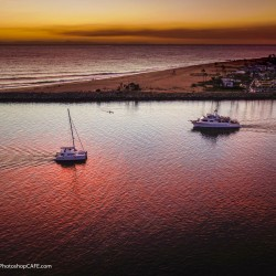 Newport harbor, from above by drone