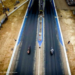 Drag racing, shot with a drone