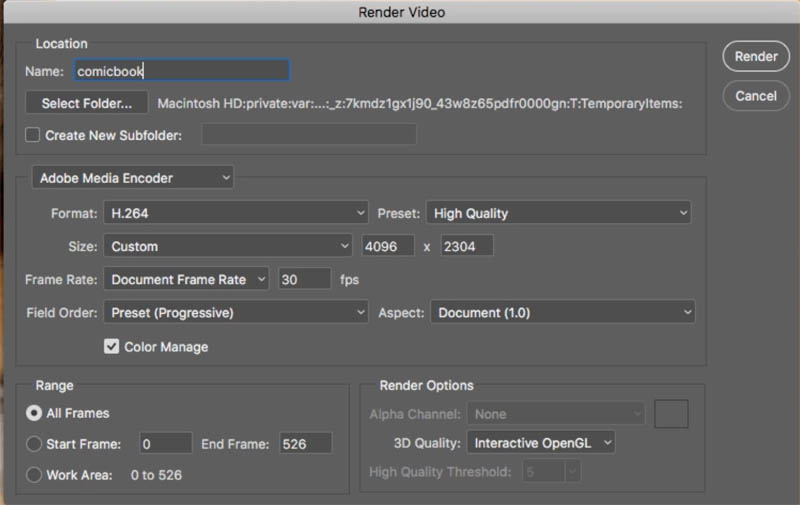 render video settings in photoshop