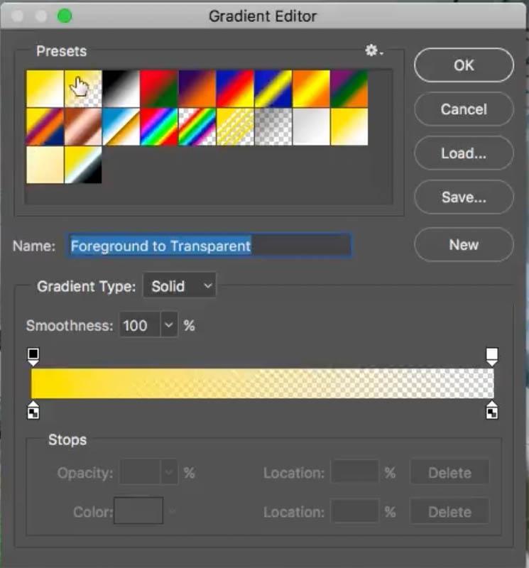 Choosing gradient options