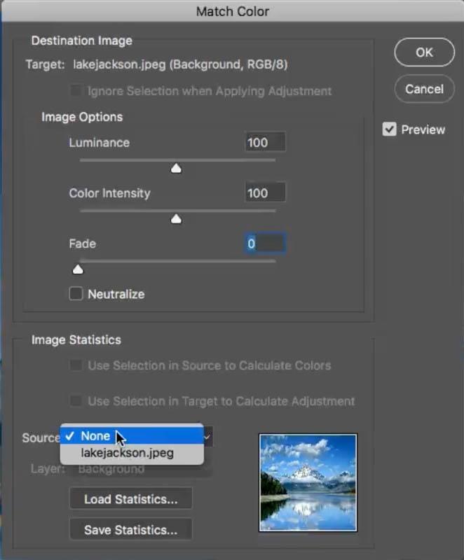 match color dialog box