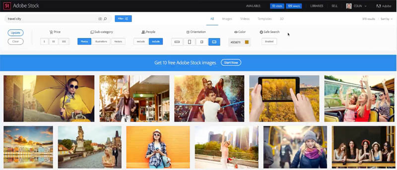 how to search and download adobe stock images in photoshop