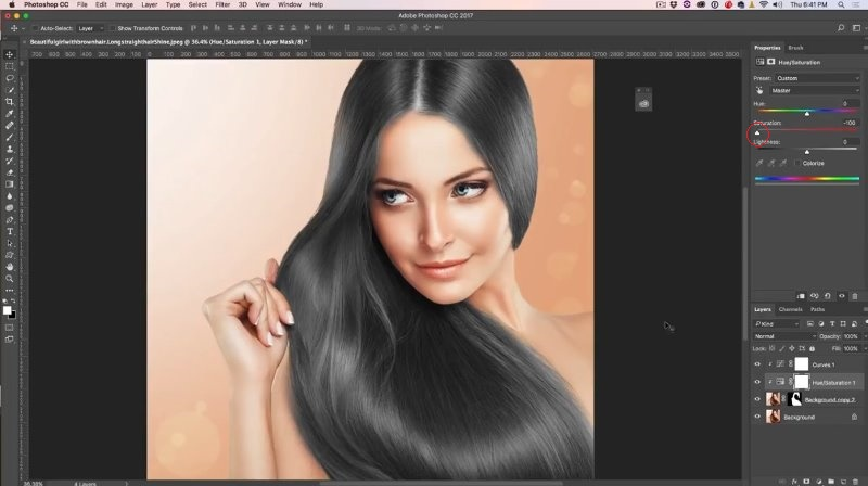 How to change hair color in photoshop tutorial photoshopcafe pull the saturation all the way down ccuart Images