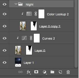 Setup for day to night blending in Photoshop