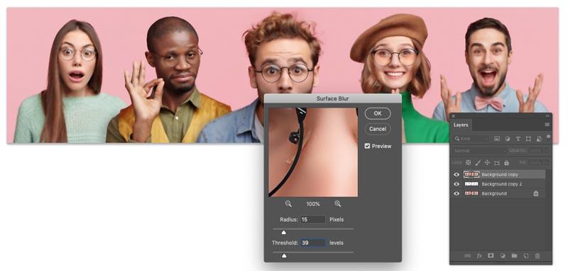 surface blur in Photoshop