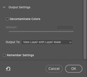 output settings for select and mask