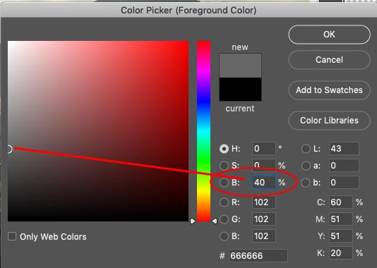 choose a % of gray in photoshop