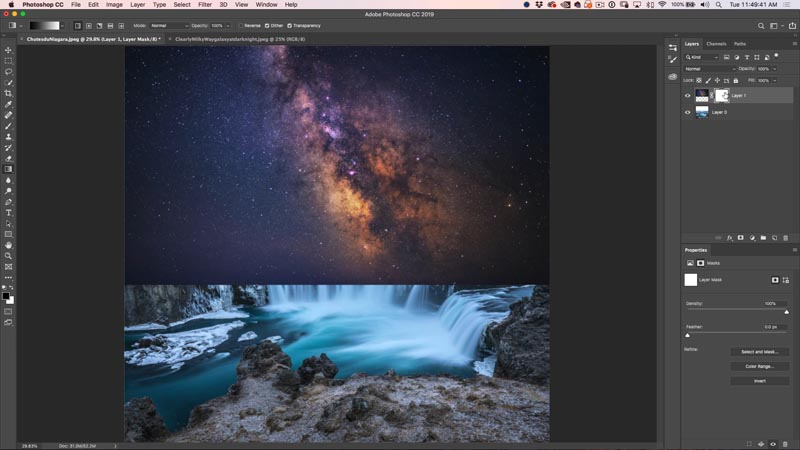 How to combine and blend photos in Photoshop: night sky