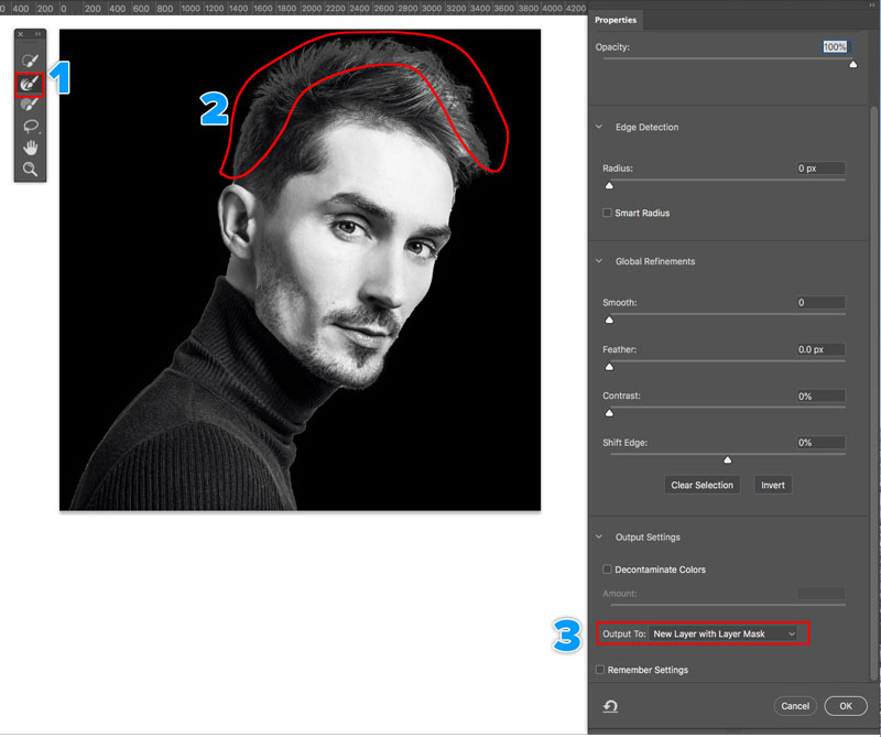 select and mask in photoshop CC