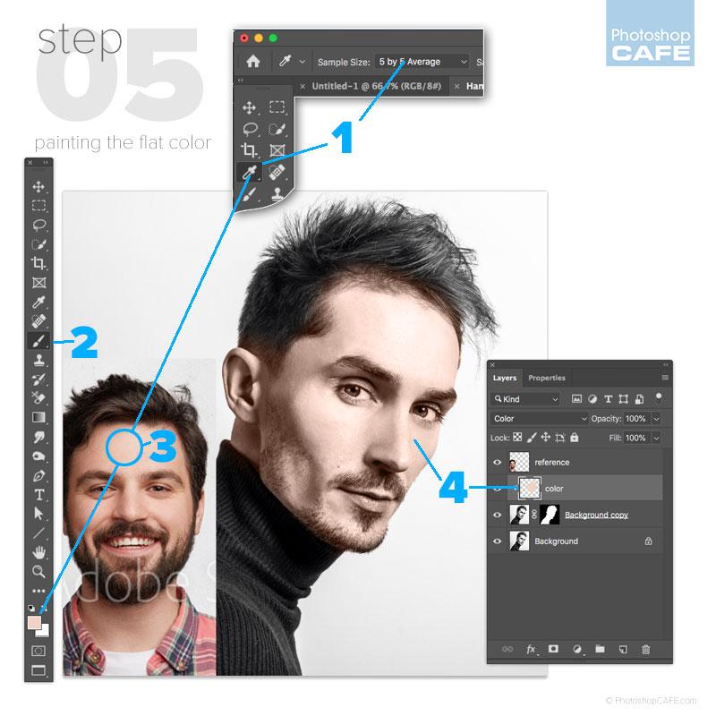 Pintar color plano en Photoshop