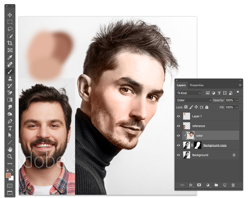 create a skin tone color palette in Photoshop