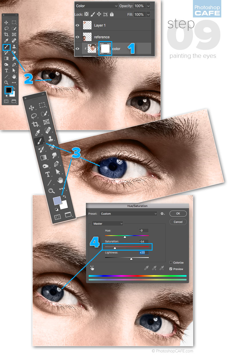 how to colorize eyes in photoshop