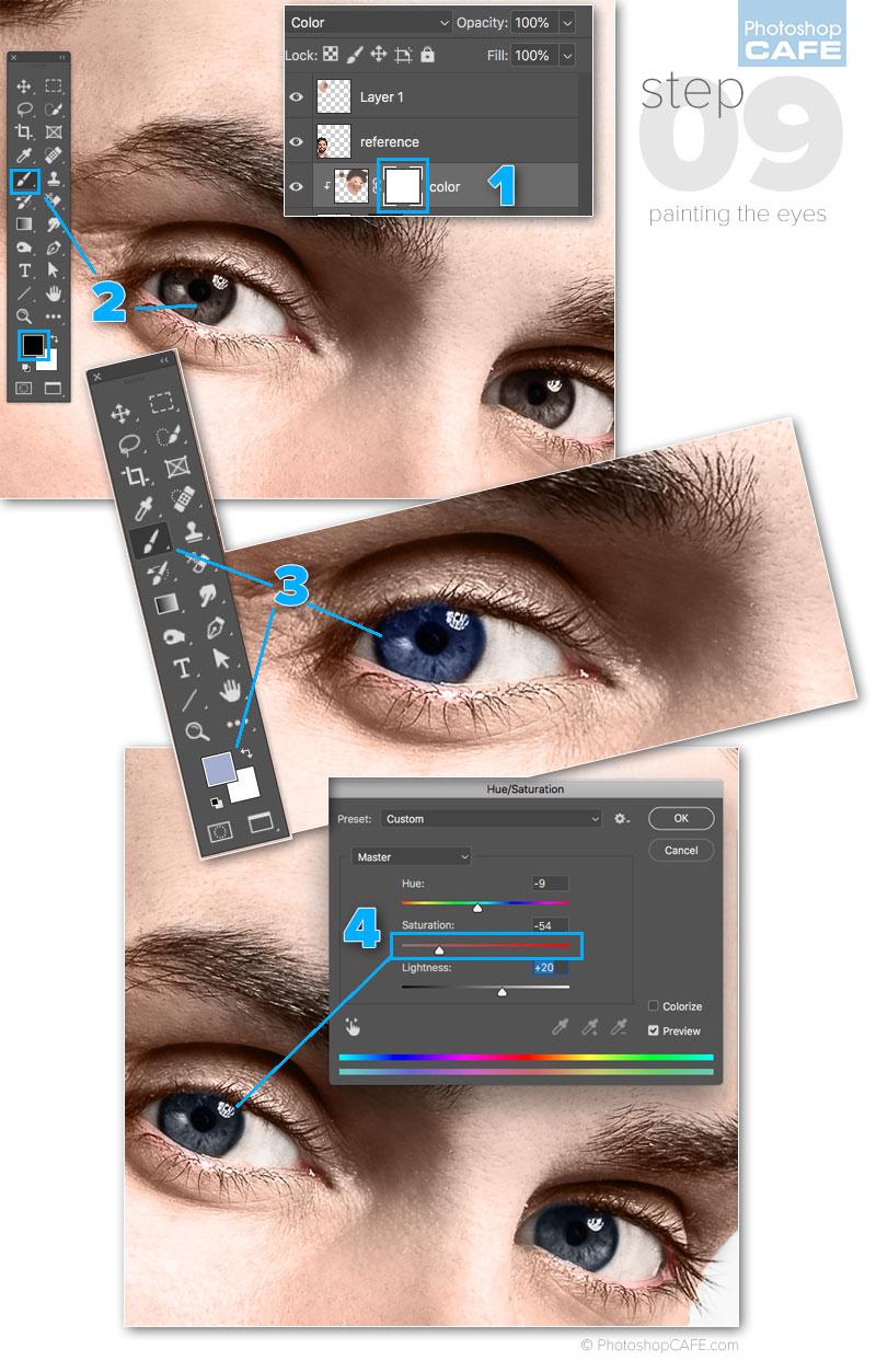 como colorear ojos en Photoshop