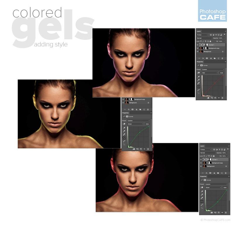how to add colored gels in photoshop, adding colored light and rim lights.