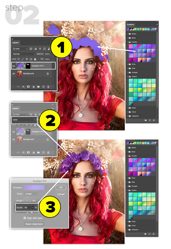 single click gradient presets in Photoshop 2020