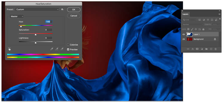 change color with hue saturation