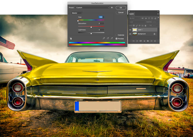 Change the color in a photo in a single slider