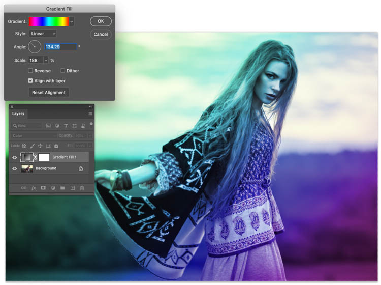 Different color overlay effect in photoshop