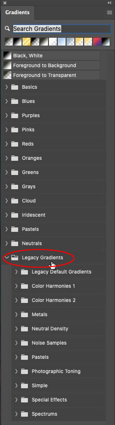 how to load legacy gradients into photoshop