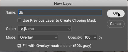 new layer with options in photoshop