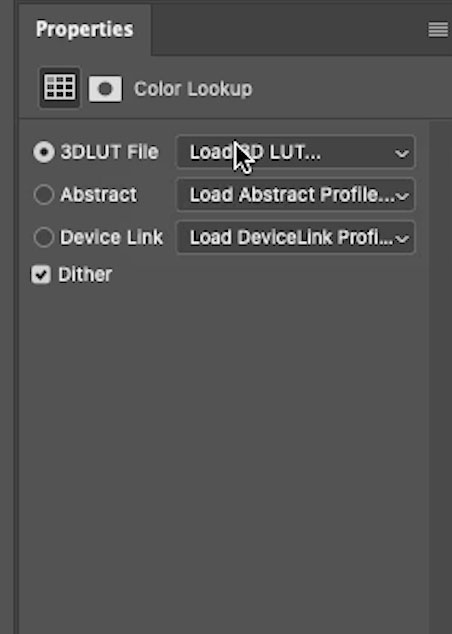 Load LUT into Photoshop