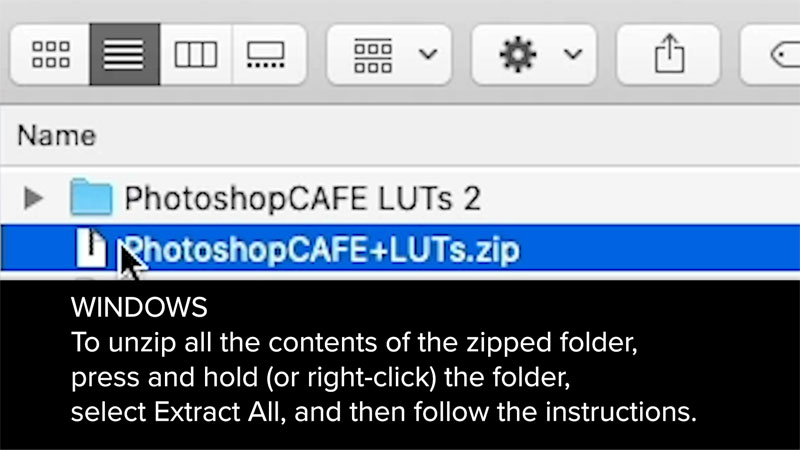 how to install luts in Photoshop