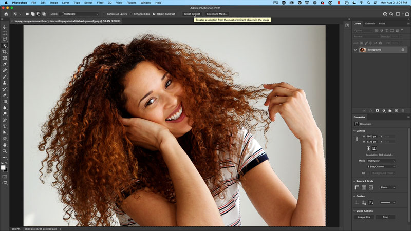 how to instantly cut out hair in photoshop