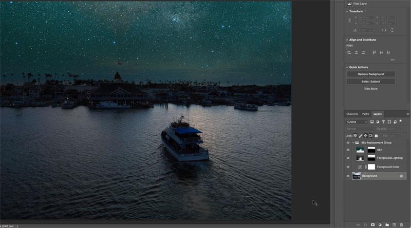 adding starfield to a photo